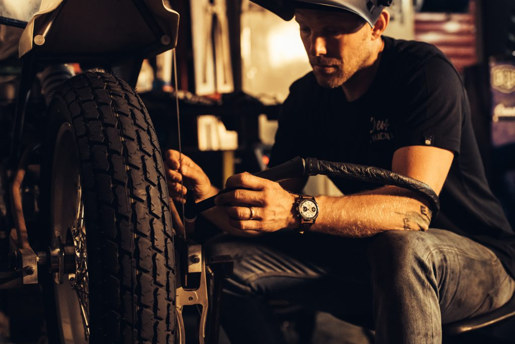Breitling Deus Squad member, French custom motorcycle engineer and designer Jeremy Tagand