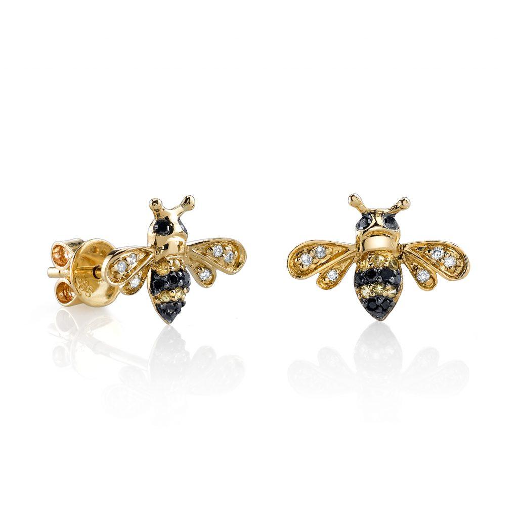 Yellow-gold & diamond bumblebee stud earrings by Sydney Evan