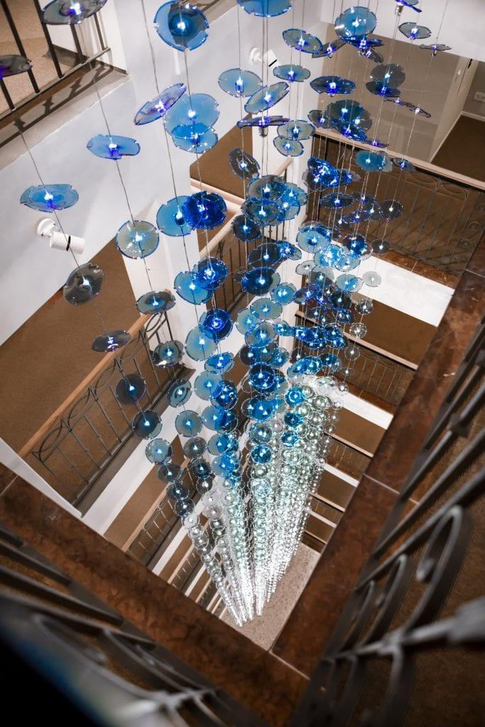Hotel Stein, Chandelier Staircase ©2018 Edmund Barr