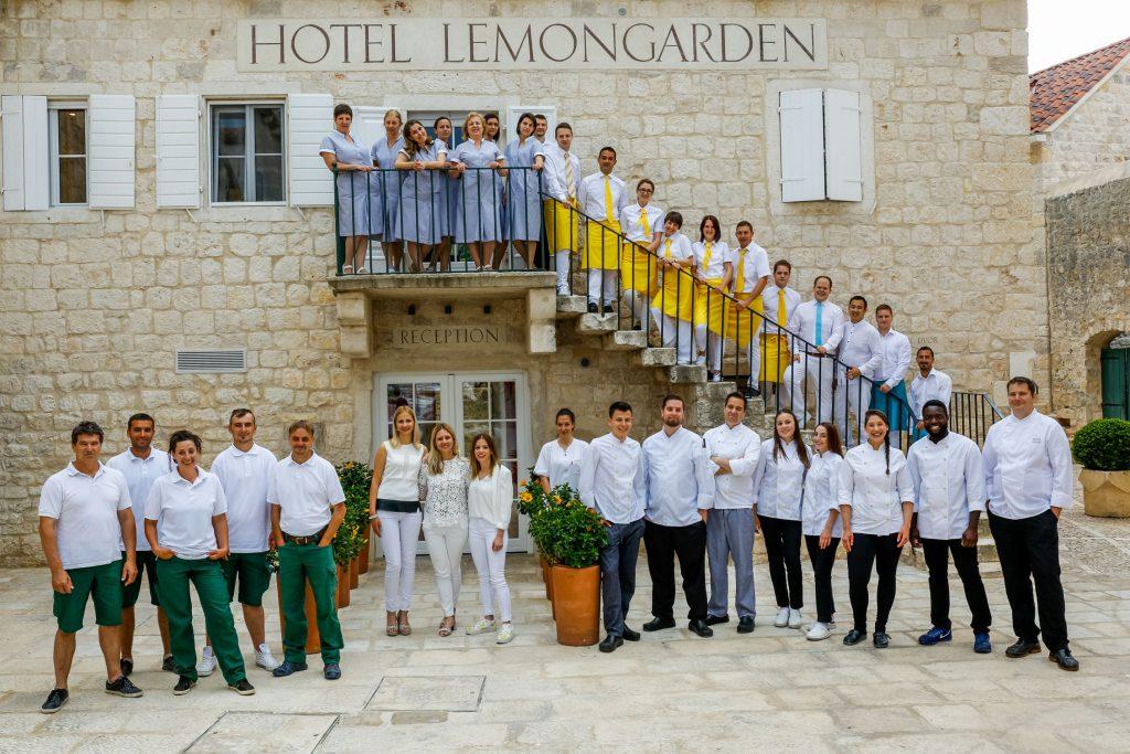 Team infront of Hotel Lemon Garden Brac Croatia