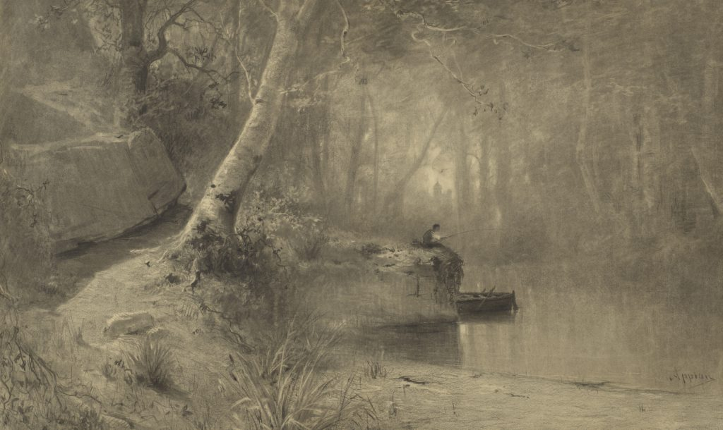 Adolphe Appian, 'Fisherman along a Riverbank', 1867