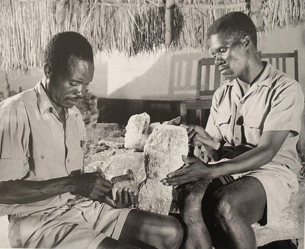 Shona Sculptures, Frank Vanji & Joram Mariga Nyatate, Nyanga, February 1963,  photo: Chris Mills