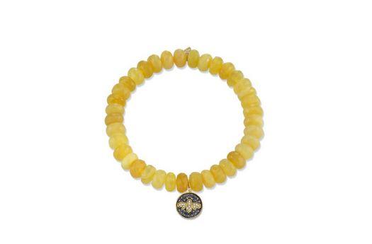 Mini yellow-gold diamond bee medaillon on yellow opal by Sydney Evan
