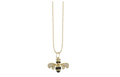 Yellow-gold diamond bumble bee necklace by Sydney Evan