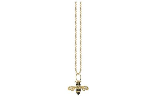 Small yellow-gold diamond bumble bee necklace by Sydney Evan